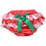Red & White Stripes w/ Green Bow Christmas Bloomers