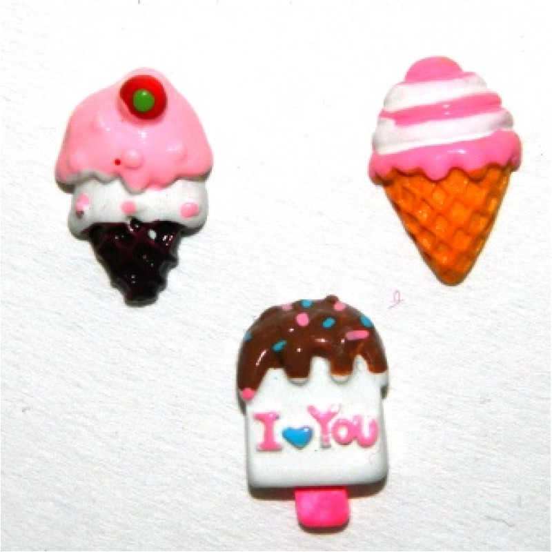 ice cream series resin flatbacks sold in a set of 6